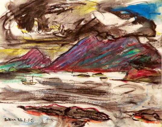 Bettina Heinen-Ayech (1937-2020): Auf dem Meer vor der Insel Aalsten, 1958