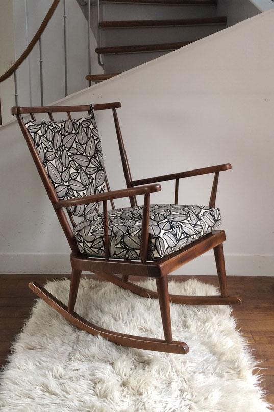 rocking-chair Baumann éventail, rocking-chair vintage