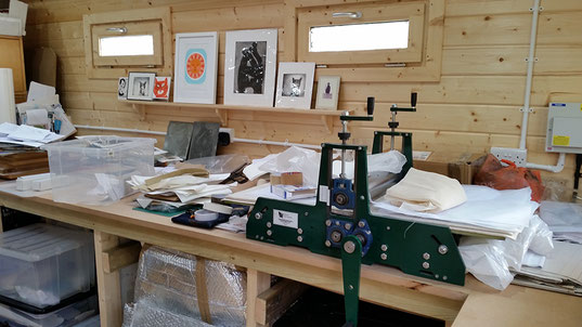 Printmaking workbench in the art studio