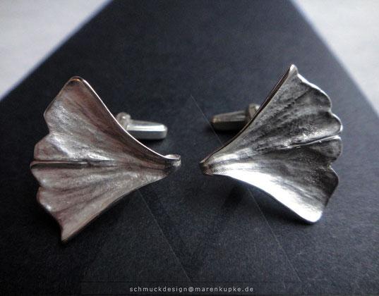 Ginkgoblatt Manschettenknöpfe 925 Silber my Ginkgo XS 20-2