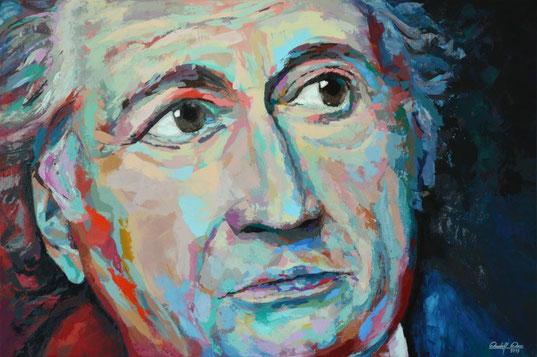 Ausschließlich mit dem Palettenmesser gespachteltes Porträt in Acryl.