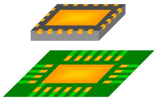 QFNと基板のパッドの状態