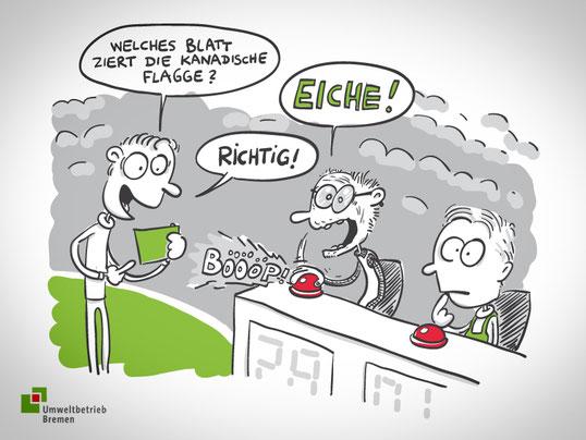 Mitarbeitermagazin Umweltbetrieb Bremen: Illustration/Cartoon für die Glosse