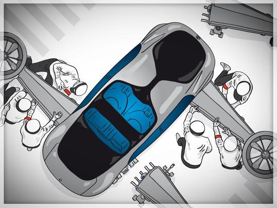 Präsentations-Illustrationen zu vorgegebenen Themen für Mercedes Benz Werk Bremen, GfG