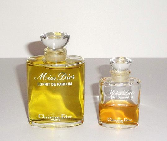 MISS DIOR : ESPRIT DE PARFUM 50 ML et MISS DIOR 15 ML - LES 2 AVEC BOUCHON DEMI-COUPE EN VERRE