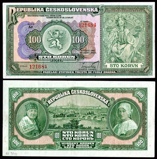 ミュシャデザインのチェコスロヴァキア紙幣。