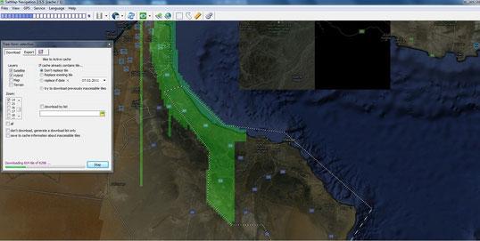 Abb1: SatMap beim automatischen polygonalen Cachen, zusätzlich grafische Abdeckung des bereits gespeicherten Bereiches aktiviert