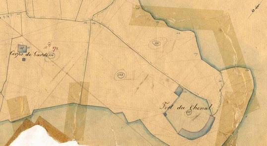 Détail du cadastre de 1846 (coll AD29) la petite poudrière au sud de la maison du douanier n'existe plus