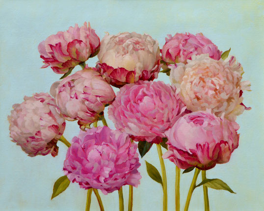 """Jenny Kelley, """"Peonies with Blue,"""" 2020, oil on linen over panel, 16 x 12 inches"""