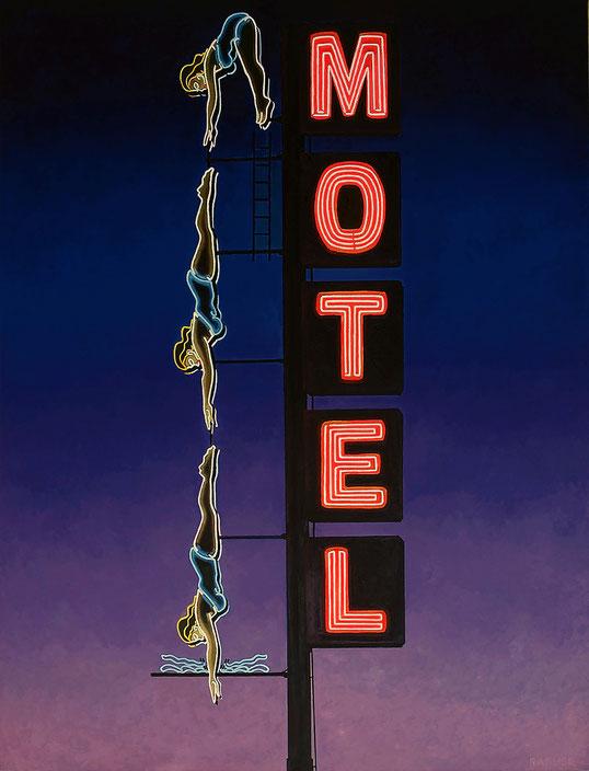 """Will Rafuse, """"Starlite Motel (Dive In Motel,)"""" 2021, oil on canvas, 48 x 36 inches, $9,000"""