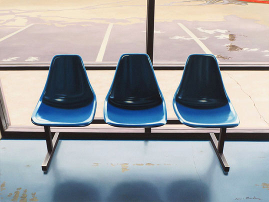"Matt Condron, ""Three Blue Seats,"" 2013, oil on canvas on panel, 30 x 40 inches, SOLD"
