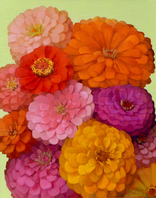 """Jenny Kelley, """"Zinnias,"""" 2020, oil on linen over panel, 14 x 11 inches"""