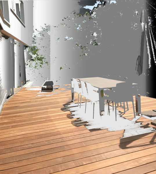 Terrasse aus Holz mit einer individuellen Stahlbaukonstruktion von Armin  Okle  MADEJA - DIE HAUSGESTALTER