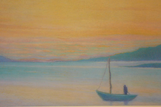 A fisherman in the sunset 42.5cmx62.5cm