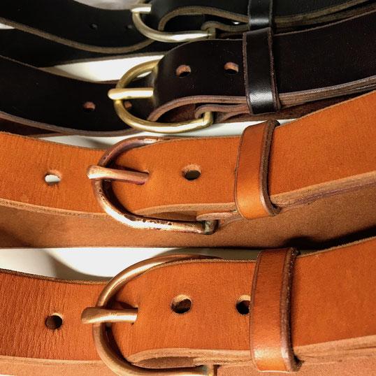Ledergürtel 4 cm | hand gebogene und geschmiedete Dornschließe | Kupfer | Neusilber | Messing | nachhaltig