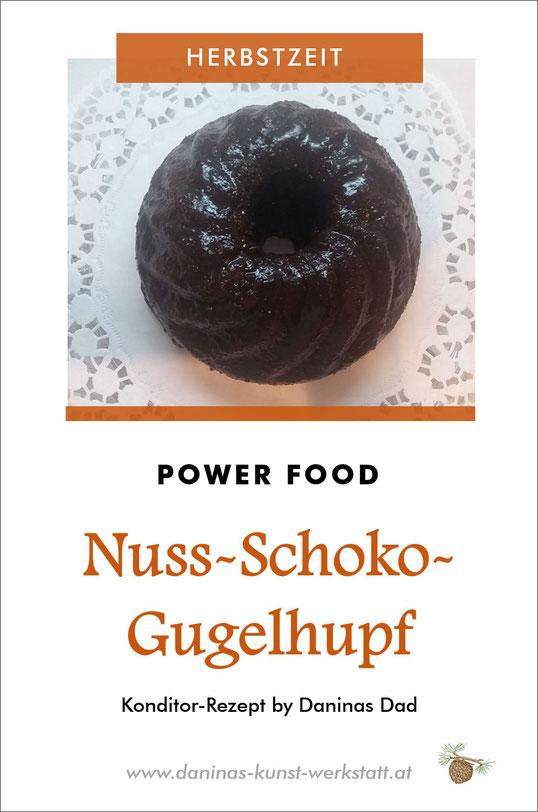 Schoko Nuss Gugelhupf Rezept. Herbstlicher Fitmacher mit gesunden Nüssen und Rosinen. Konditor-Rezept by Daninas Dad.