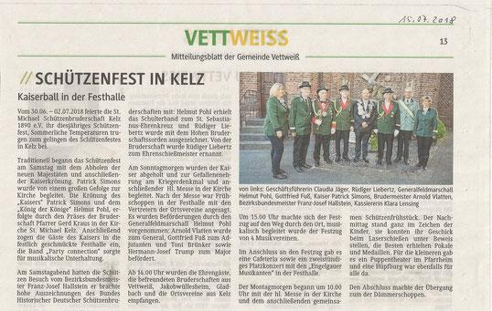 Artikel im Mitteilungsblatt der Gemeinde Vettweiß vom 15. Juli 2018