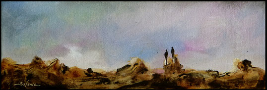 les grands voyageurs acrylique sur toile dim 10cmx30cm