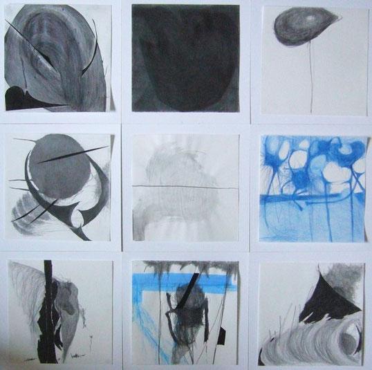 9-teilige zeichnung/collage, je 30x30cm, 2013/14