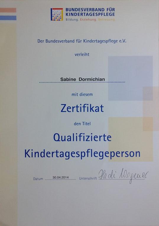 Zertifikat Qualifizierte Kindertagespflegeperson des Bundesverbands für Kindertagespflege e.V.