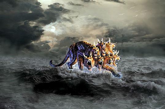 L'humanité agitée et éloignée de Dieu est semblable aux eaux impétueuses, furieuses, agitées de la mer dont les vagues soulèvent la vase et la saleté et rejettent l'écume de leurs impuretés. De la mer sortent les 4 bêtes de Daniel 7 et la bête d'Apo 13.