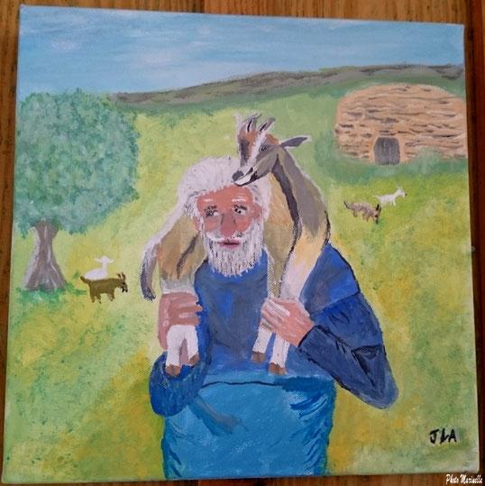 """JLA Artiste Peintre - """"Berger en Lubéron"""" 040 - Peinture sur toile"""