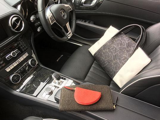 鞄は京織り(艶雅織)オリジナル柄(つきを呼ぶ縁起のいい柄)です