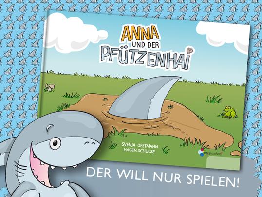 """Cover-Illustration für das Kinderbuch """"Anna und der Pfützenhai"""" von Svenja Oestmann (vorläufiges Format, Buch erscheint vorraussichtlich 2018)"""