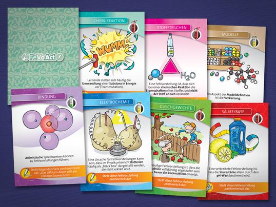 Spielkarten Illustrationen und Gestaltung für die Universität Bremen, Institut für Didaktik der Naturwissenschaften