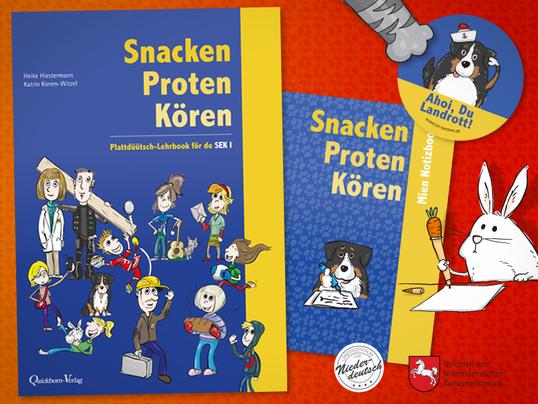"""Schulbuch """"Snacken Proten Kören"""", Illustrationen, Gestaltung und Layout, Länderzentrum für Niederdeutsch Bremen"""
