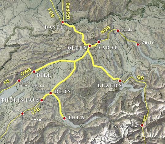 Streckennetz SCB, sowie Bahnanschlüsse