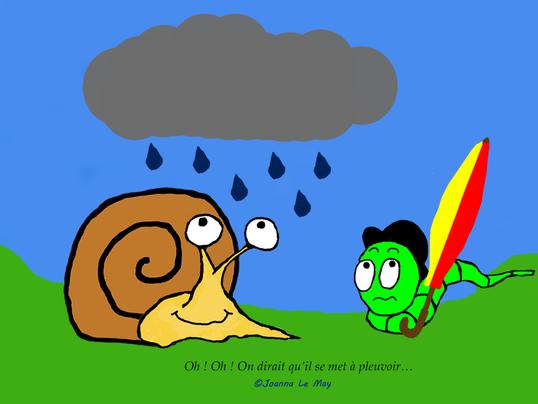 Extrait du livre pour iPad pour apprendre l'anglais aux enfants montrant un escargot et un vers qui regardent la pluie.