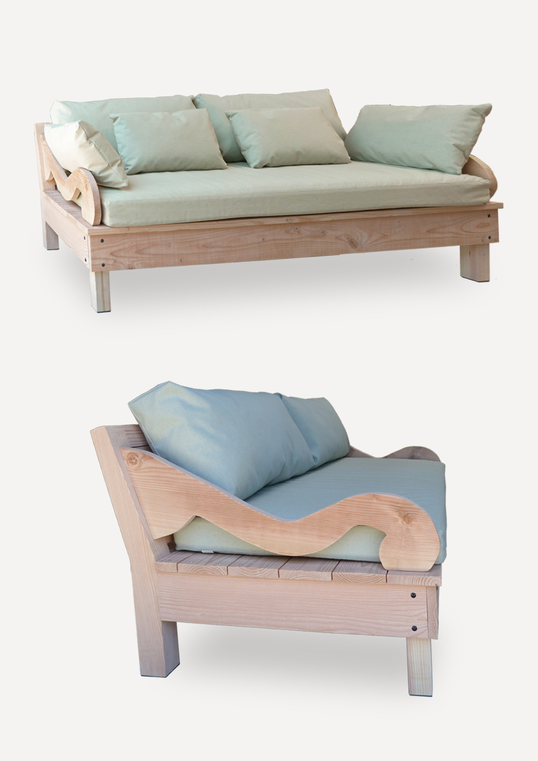 Canapé bois douglas extérieur
