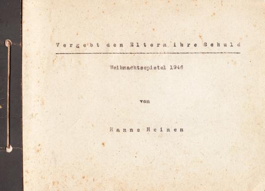 Hanns Heinen (1895-1961): Vergebt den Eltern Ihre Schuld, 1946