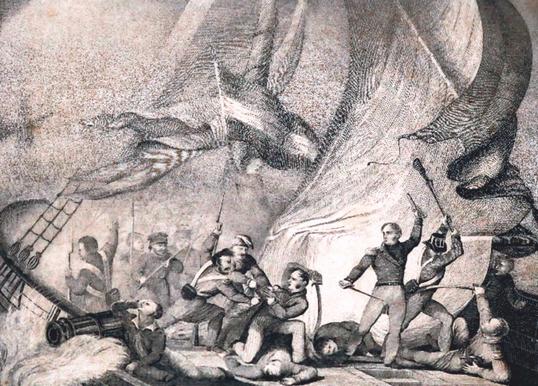 Darstellung des Kampfes auf Van Speyks Schiff