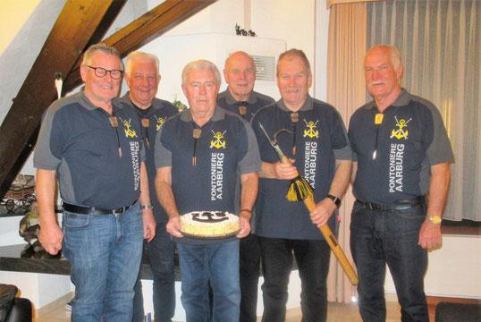 Jörg Richner, Ueli Baumann, Jubilar Hans Kündig, Hanspeter Wullschleger, Bernhard Wullschleger und Roland Wullschleger (v links)