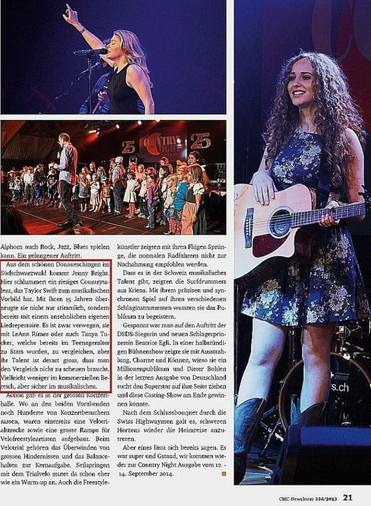 Quelle: Country Music Club Switzerland / CMC Ausgabe November 2013