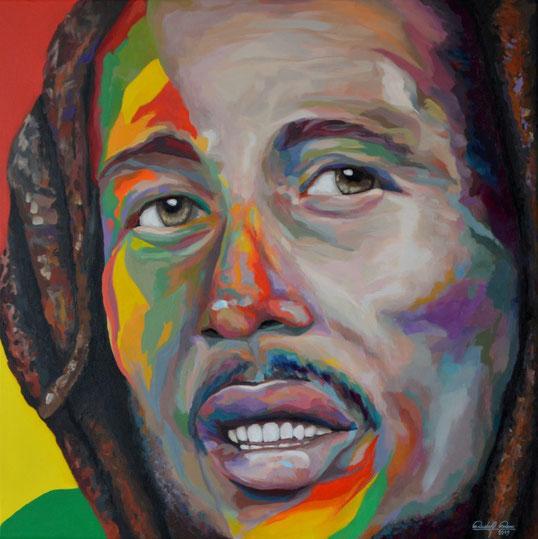 Bildnis des Bob Marley, gemalt mit Acrylfarben auf Leinwand.