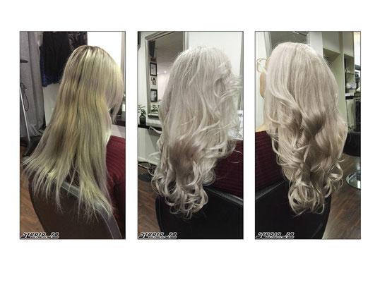 Weiß Grau Haarfarbe Coloration vorher nachher
