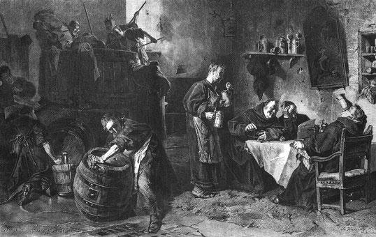 """Eduard von Grützner: """"In einer baierischen Klosterbräustube"""", in: Die Gartenlaube (1870)."""