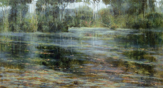 "Teri Malo, ""Late Summer at the Pond,"" 2015, oil on panel, 30 x 54 inches, $9,800"