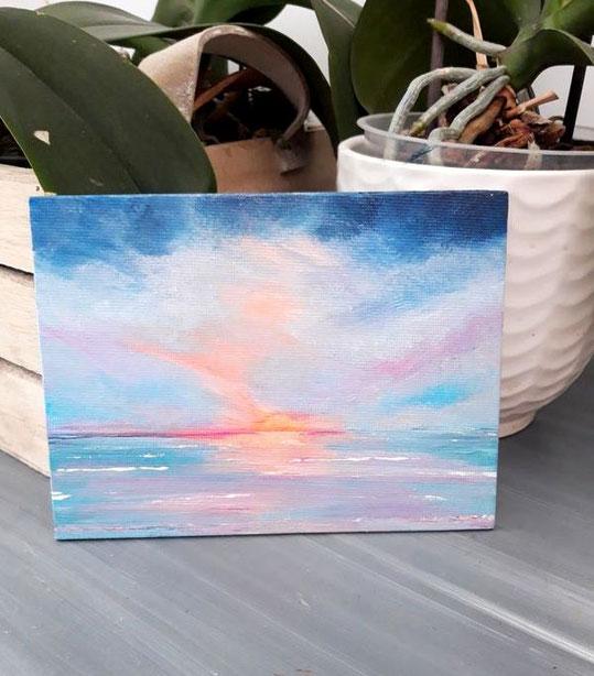 mini-peinture-paysage-marin-sunset-petit-tableau-mer-ocean-royan-audrey-chal