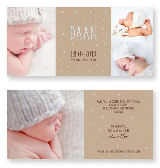 Geburtskarte Geburtsanzeige kartendings.ch Babykarte zur Geburt.