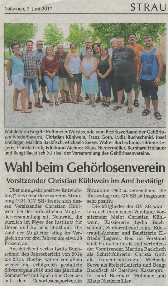 Quelle: Straubinger Tagblatt 07.06.2017