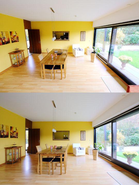 Gegenüberstellung der Kameraposition auf 1,10m/1,80m, Esszimmer, Neckargemünd, Immobilienfotos