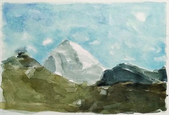 Bild des Monats Januar 2021 »Mount Kailash« von Beate, Aquarell aus dem Bergbuch