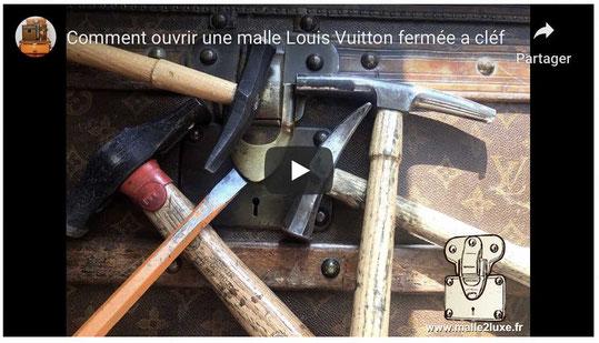 video YouTube comment ouvrir une malle ancienne Louis Vuitton fermé a clé