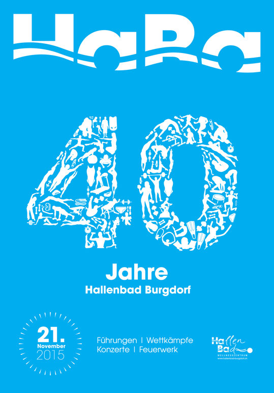 Plakatdesign: Plakat 40 Jahre Hallenbad Burgdorf | Brand, Konzept und Grafik by Lockedesign 2015