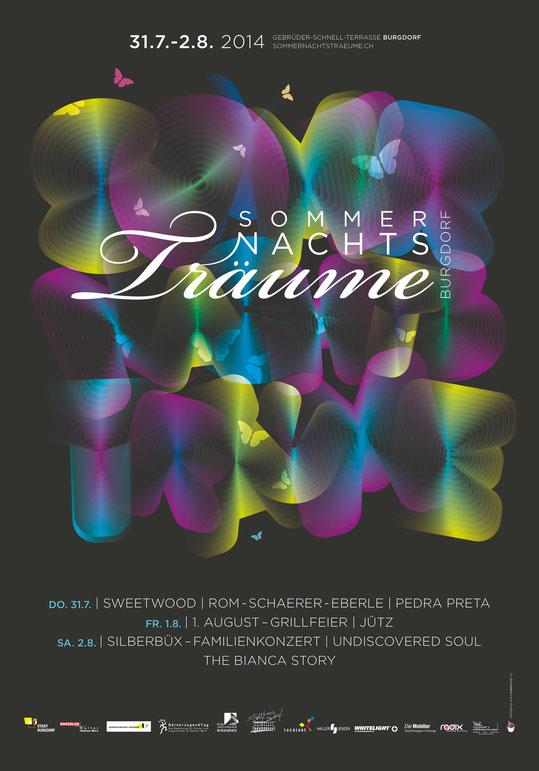 Konzerte Plakatdesign: Sommernachtsträume Burgdorf | Auftritt, Konzept und Grafik by Lockedesign 2014