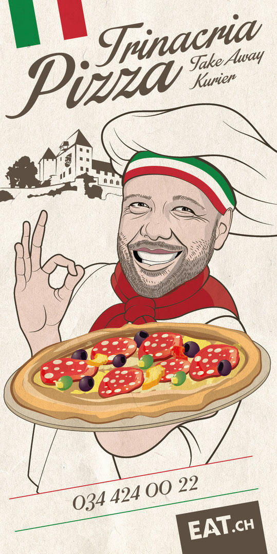 Trinacria Pizza Burgdorf: Illustration und Prospektgestaltung | Illustartion und Layout Prospekt by lockedesign.ch 2017
